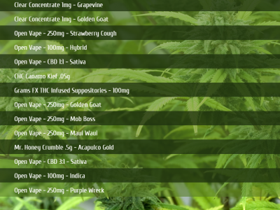 Cannabis Menu Boards